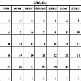 Calendar Planner Month April 2021 On Transparent Background Designer Cut