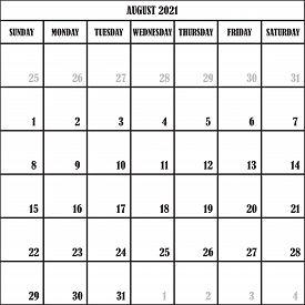 Calendar Planner Month Ugusy 2021 On Transparent Background Designer Cut