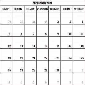 Calendar Planner Month September 2021 On Transparent Background Designer Cut
