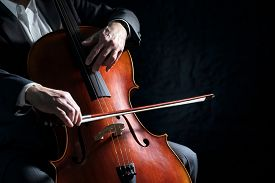 Cello player or cellist performing in an orchestra background isolated with copy space