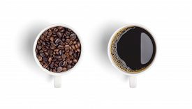 Close-up And Top View Of Roasted Coffee Beans In White Coffee Cup And Hot Black Coffee In White Coff