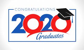 Class Of 2020 Year Graduation Sign, Awards Concept. Banner In Red, Blue And White Colors, Happy Holi