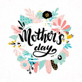 Happy Mother S Day Typography Background With Abstract Floral Frame In Pastel Colours. Mothers Day L