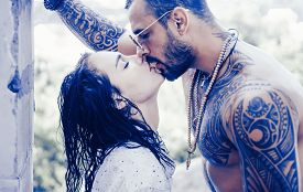 Passion Love Couple. Romantic Moment. Handsome Muscular Guy And Amazing Sexy Woman. Cosmopolitan Cou