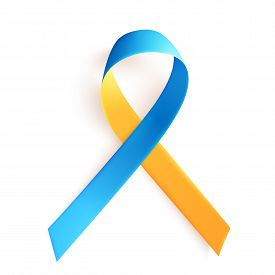 March 21 Is The International Day Of Man With Down Syndrome. The Symbol Is A Yellow Blue Ribbon. Blu