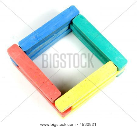 Square From Childrens Colored Chalk