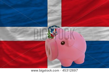 Piggy Rich Bank And  National Flag Of Dominican
