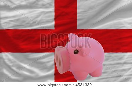 Piggy Rich Bank And  National Flag Of England