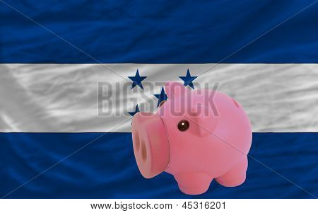 Piggy Rich Bank And  National Flag Of Honduras
