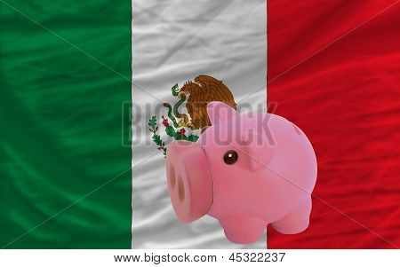 Piggy Rich Bank And  National Flag Of Mexico