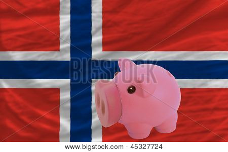 Piggy Rich Bank And  National Flag Of Norway