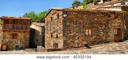 Small typical mountain village of schist