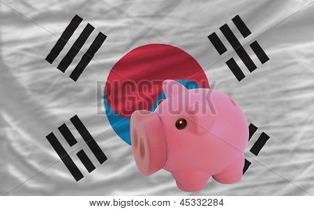 Piggy Rich Bank And  National Flag Of South Korea