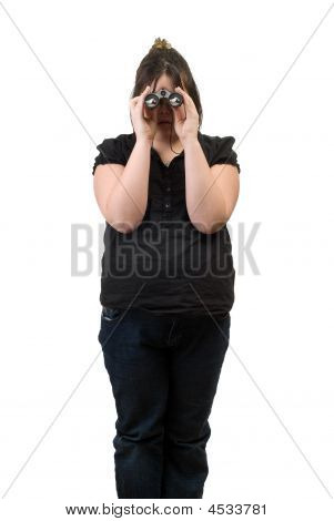 A young girl looking through a pair of binoculars is watching a bird eat some bread poster