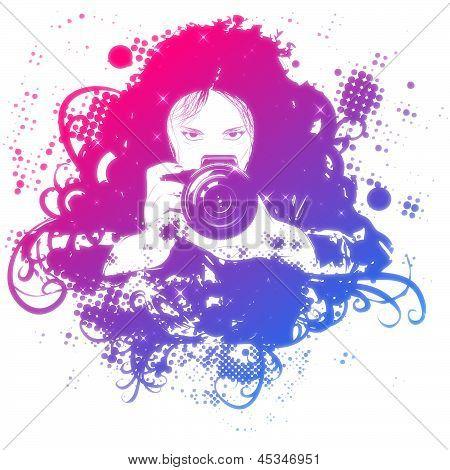 Colorful Girl Photographer Illustration