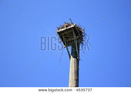 Osprey nest against a very blue sky with a high angle shot. poster