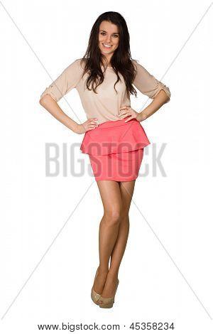 Elegance girl in dress on white