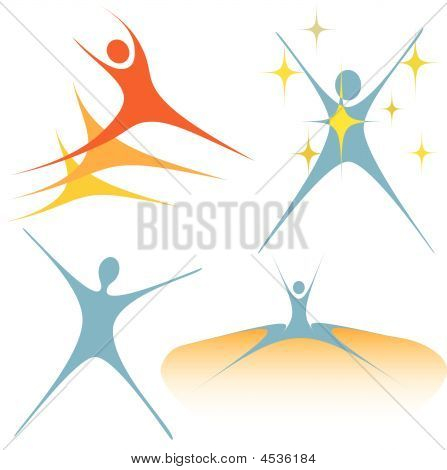 Celebrate Active Swoosh Symbol People Set
