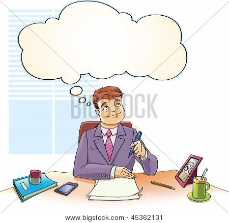 Businessman with the Thinking Bubble