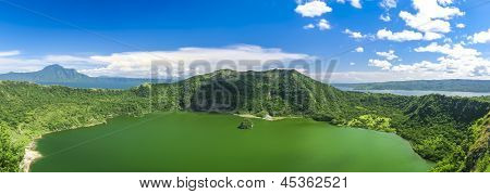 active taal volcano inside bigger crater lake near tagaytay in the philippines poster