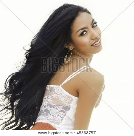 Beautiful young woman with long hair.