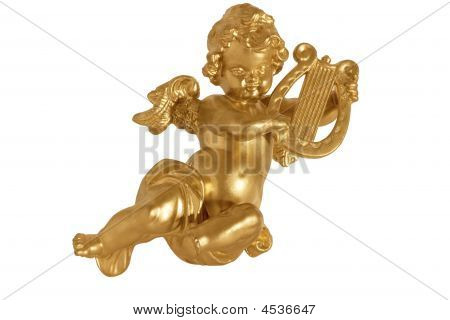 Golden Angel With Harp