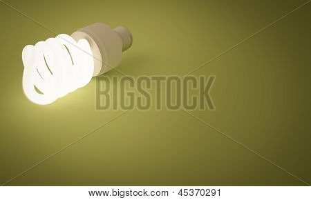 Lit Fluorescent Lightbulb