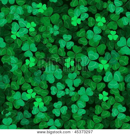 Seamless clover leaves background.  Green clover texture.