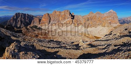Panoramic view of Dolomiti Mountains - Group Tofana di Tores - Italy poster