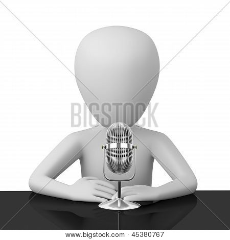 3D Person Speaks Into A Microphone.