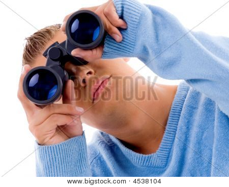 Young Man Looking Through Binocular