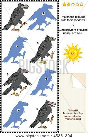 Visual puzzle or picture riddle: Match the pictures of four ravens to their shadows. Answer included. poster