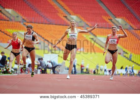 MOSCOW - JUN 11: Finish of female race at Grand Sports Arena of Luzhniki OC during International athletics competitions IAAF World Challenge Moscow Challenge, June 11, 2012, Moscow, Russia.