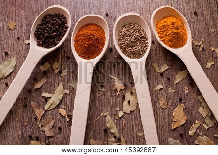 aromatic powder spices on spoons in wooden background