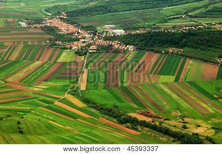 Aerial agricultural landscape poster
