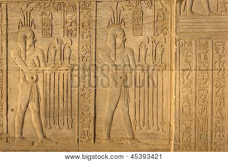 Hieroglyphic Carvings In Kom Ombo Temple