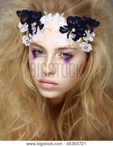 Coloring. Brightly Painted Woman's Skin - Blue Eyeshadow. Meekness. Tenderness poster