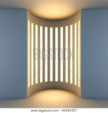 A 3d illustration blank template layout of white empty niche with back light.