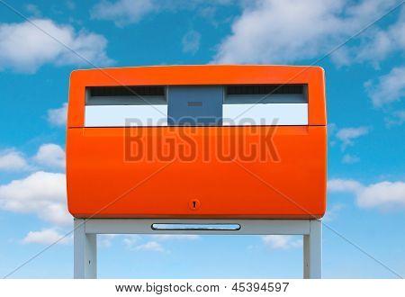 Dutch Public Mailbox Orange On Sky Background Netherlands