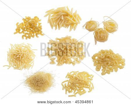 Piles of raw pasta