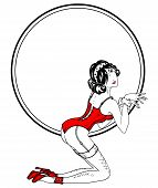 Romantic round frame with sexy lady in retro style poster