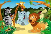 A vector illustration of a group of wild African animals in the jungle poster