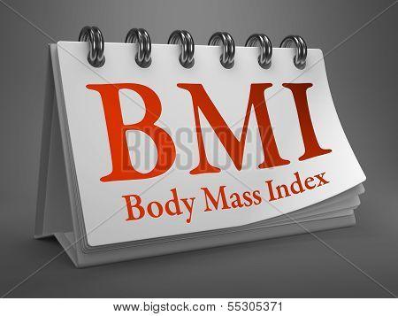Desktop Calendar with BMI Concept.