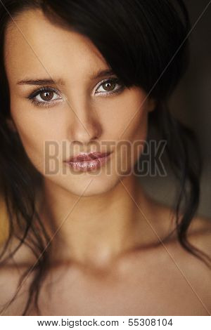 Portrait Of Natural Brunette Girl Topless