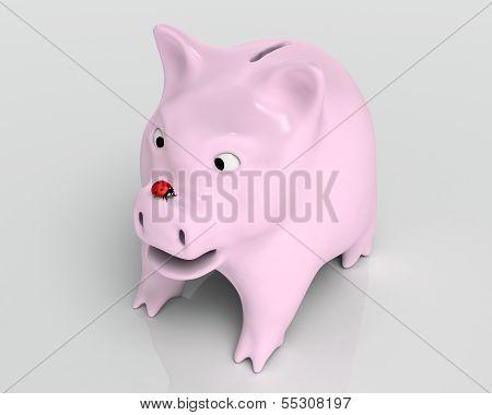 Surprised Piggy Bank With Ladybug
