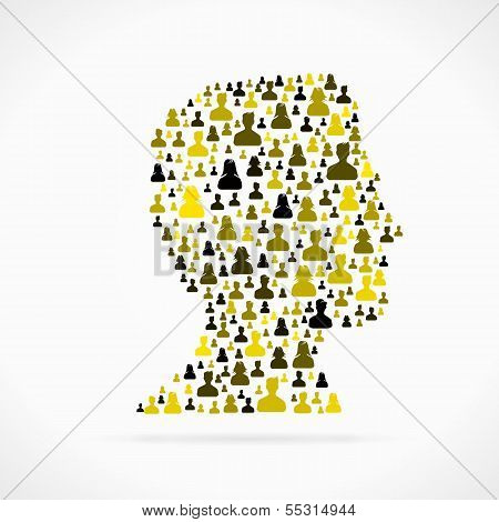 Profile avatar out of large group of people silhouettes poster