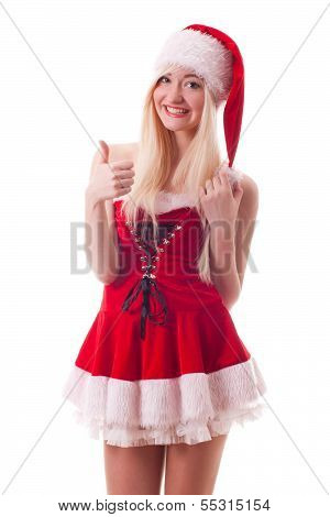 Santa Girl With Thumbs Up Gesture