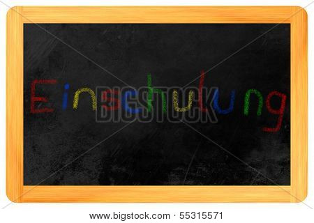 Einschulung Colored Chalk On Blackboard