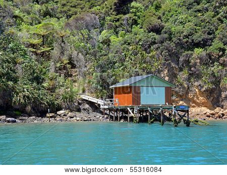 Boat House In The Marlborough Sounds, New Zealand.
