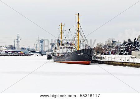 KALININGRAD, RUSSIA - January 19, 2013: Average Fishing Trawler, Bound With Ice